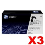 3 x HP Q5949X (49X) Genuine Black Toner Cartridge - 6,000 Pages
