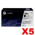 5 x HP Q5949X (49X) Genuine Black Toner Cartridge - 6,000 Pages
