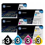 3 sets of 4 Pack HP CE250X-CE253A (504X/504A) Genuine Toner Cartridges [3BK,3C,3M,3Y]