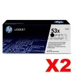 2 x HP Q7553X (53X) Genuine Black Toner Cartridge - 7,000 Pages