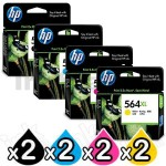 2 sets of 4 Pack HP 564XL Genuine Inkjet Cartridges CN684WA+CB323WA-CB325WA [2BK,2C,2M,2Y]