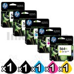 5 Pack HP 564XL Genuine Inkjet Cartridges CN684WA+CB322WA-CB325WA [1BK,1PBK,1C,1M,1Y]