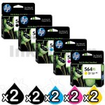 2 sets of 5 Pack HP 564XL Genuine Inkjet Cartridges CN684WA+CB322WA-CB325WA [2BK,2PBK,2C,2M,2Y]