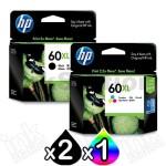 3 Pack HP 60XL Genuine Inkjet Cartridges CC641WA + CC644WA [2BK,1CL]