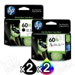 4 Pack HP 60XL Genuine Inkjet Cartridges CC641WA + CC644WA [2BK,2CL]