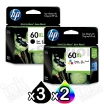 5 Pack HP 60XL Genuine Inkjet Cartridges CC641WA + CC644WA [3BK,2CL]