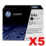 5 x HP CC364A (64A) Genuine Black Toner Cartridge - 10,000 Pages