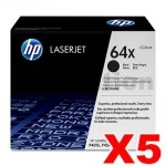 5 x HP CC364X (64X) Genuine Black High Yield Toner Cartridge - 24,000 Pages