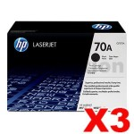 3 x HP Q7570A (70A) Genuine Black Toner Cartridge - 15,000 Pages