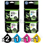 5 Pack HP 932XL + 933XL Genuine High Yield Inkjet Cartridges CN053AA - CN056AA [2BK,1C,1M,1Y]