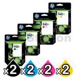 2 sets of 4 Pack HP 940XL Genuine Inkjet Cartridges C4906AA - C4909AA [2BK,2C,2M,2Y]