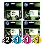 5 Pack HP 950XL + 951XL Genuine Inkjet Cartridges CN045AA - CN048AA [2BK,1C,1M,1Y]
