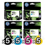 5 sets of 4 Pack HP 950XL + 951XL Genuine Inkjet Cartridges CN045AA - CN048AA [5BK,5C,5M,5Y]