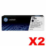 2 x HP 78A CE278A Genuine Black Toner Cartridge - 2,100 Pages