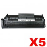 5 x HP Q2612A (12A) Compatible Black Toner Cartridge - 2,000 Pages