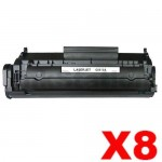 8 x HP Q2612A (12A) Compatible Black Toner Cartridge - 2,000 Pages