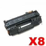 8 x HP Q5949A (49A) Compatible Black Toner Cartridge - 2,500 Pages