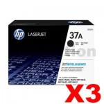 3 x HP CF237A (37A) Genuine Black Toner Cartridge - 11,000 Pages