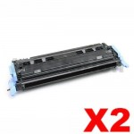 2 x HP Q6000A (124A) Compatible Black Toner Cartridge - 2,500 Pages