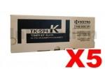 5 x Genuine Kyocera TK-594K Black Toner Cartridge FS-C2026MFP, FS-C2126MFP, FS-C2526MFP, FS-C2626MFP, FS-C5250DN, M-6026CDN, M-6526CDN, P-6026CDN - 7,000 pages