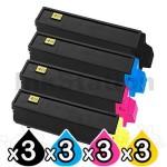 3 sets of 4 Pack Non-Genuine TK-554 Toner Cartridges For Kyocera FS-C5200DN [3BK,3C,3M,3Y]
