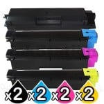 2 sets of 4 Pack Non-Genuine alternative for TK-584 Toner Cartridges suitable for Kyocera FS-C5150DN [2BK,2C,2M,2Y]