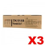 3 x Genuine Kyocera TK-1119 Black Toner Cartridge FS-1041, FS-1320MFP - 1,600 pages