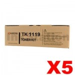 5 x Genuine Kyocera TK-1119 Black Toner Cartridge FS-1041, FS-1320MFP - 1,600 pages