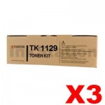 3 x Genuine Kyocera TK-1129 Black Toner Kit FS-1061DN, FS-1325MFP - 2,100 pages