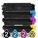 2 sets of 4 Pack Non-Genuine  TK-5154 Toner Combo For Kyocera M-6535CDN, P-6035CDN [2BK+2C+2M+2Y]