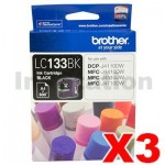 3 x Genuine Brother LC-133BK Black Ink Cartridge - 600 Pages each