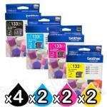 10 Pack Genuine Brother LC-133 Ink Cartridges [4BK+2C+2M+2Y]