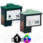 Lexmark No.16 + No.26 (10N0016 + 10N0026) Compatible Ink Cartridge Combo [1BK,1CL]
