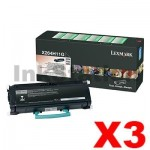 3 x Lexmark (X264H11G) Genuine X264/X363/X364 Toner - 9,000 pages