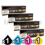 4 Pack Lexmark X925H2KG-X925H2YG Genuine High Yield Toner Cartridge - BK 8,500 pages & CMY 7,500 pages