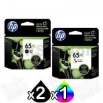 3 Pack HP 65XL Genuine High Yield Ink Combo N9K04AA + N9K03AA [2BK,1CL]