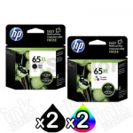 4 Pack HP 65XL Genuine High Yield Ink Combo N9K04AA + N9K03AA [2BK,2CL]