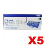 5 x Brother TN-3440 Genuine Toner High Yield - 8,000 pages