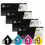 4 Pack HP CE340A-CE343A (651A) Genuine Toner Cartridges [1BK,1C,1M,1Y]