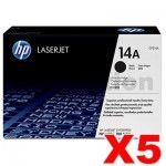 5 x HP CF214A (14A) Genuine Black Toner Cartridge - 10,000 Pages