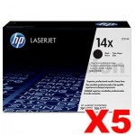 5 x HP CF214X (14X) Genuine Black Toner Cartridge - 17,500 Pages