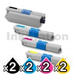 2 sets of 4 Pack OKI Compatible C310DN / C330DN / MC361 / MC362DN / C331DN Toner Cartridges (44469805-44469755)