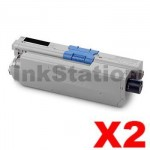 2 x OKI Compatible C310DN / C330DN / MC361 / MC362DN / C331DN Black Toner Cartridge - 3,500 pages (44469805)