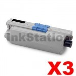 3 x OKI Compatible C310DN / C330DN / MC361 / MC362DN / C331DN Black Toner Cartridge - 3,500 pages (44469805)