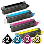8 Pack OKI Compatible C5850/C5950/MC560 Toner Cartridges (43865725-43865728) [2BK,2C,2M,2Y]