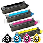 12 Pack OKI Compatible C5850/C5950/MC560 Toner Cartridges (43865725-43865728) [3BK,3C,3M,3Y]
