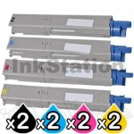 2 Sets of 4 Pack OKI Compatible C3300/ C3400/ C3600 Toner Cartridges (43459312-43459355)
