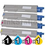 4 Pack OKI C3530MFP, C3520MFP Compatible Toner Cartridges (43459325-43459328)