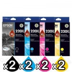 8 Pack Genuine Epson 220XL (C13T294192-C13T294492) High Yield Ink Combo [2BK,2C,2M,2Y]