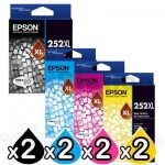 8 Pack Epson 252XL Genuine Ink Cartridge [C13T253192-C13T253492] [2BK,2C,2M,2Y]